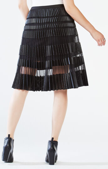 Taura Striped Faux-Leather Pleated Skirt