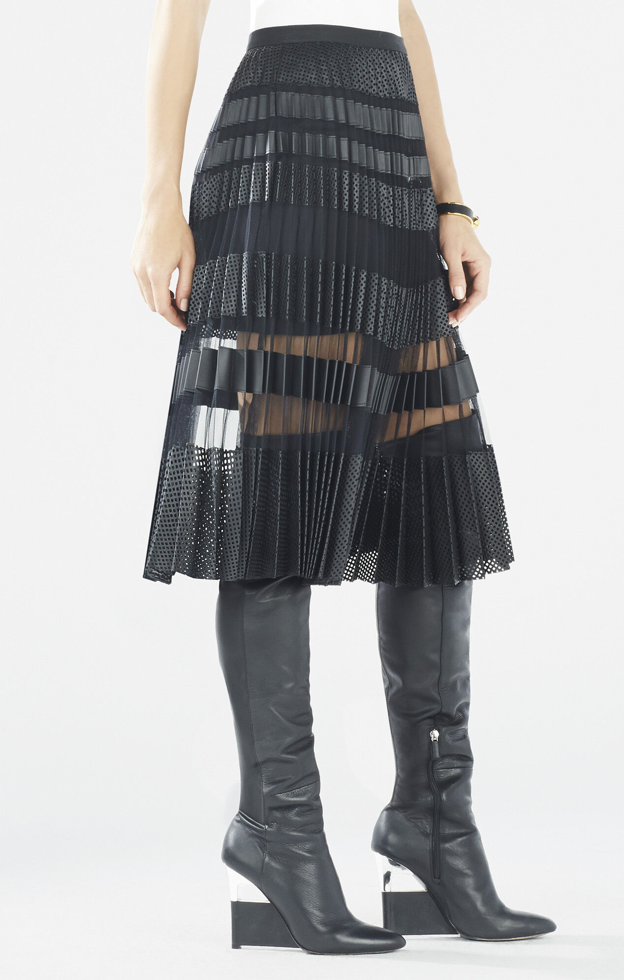taura striped faux leather pleated skirt