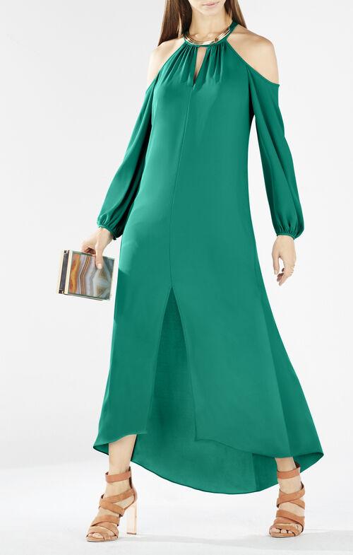 Ivonka Cutout Shoulder Halter Maxi Dress
