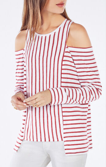 Herimone Cutout Striped Top