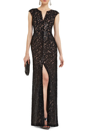Cain Sequin Applique Dress