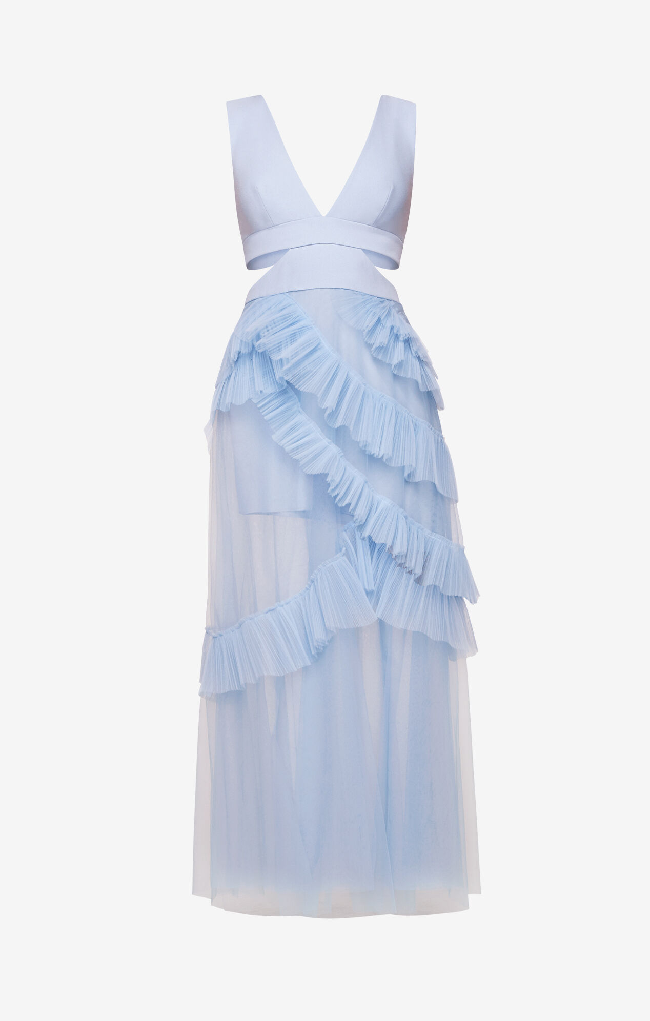 Joela Pleated Tulle Gown