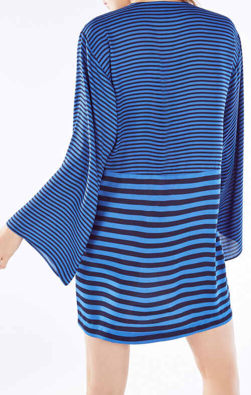 Amilia Kimono-Sleeve Stripe-Blocked Dress