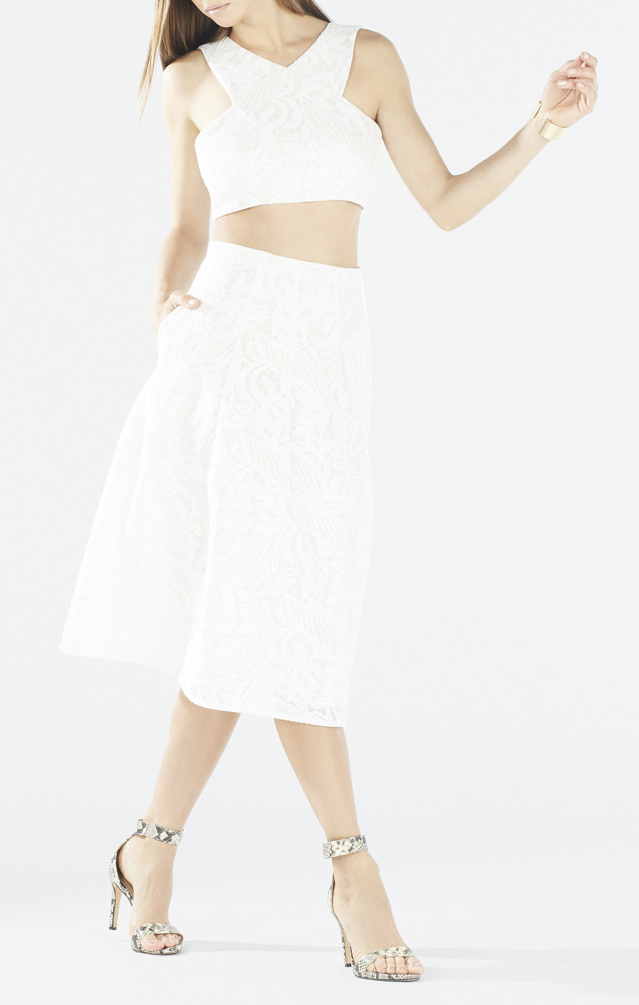 Ellyson Embroidered Mesh Two-Piece Dress