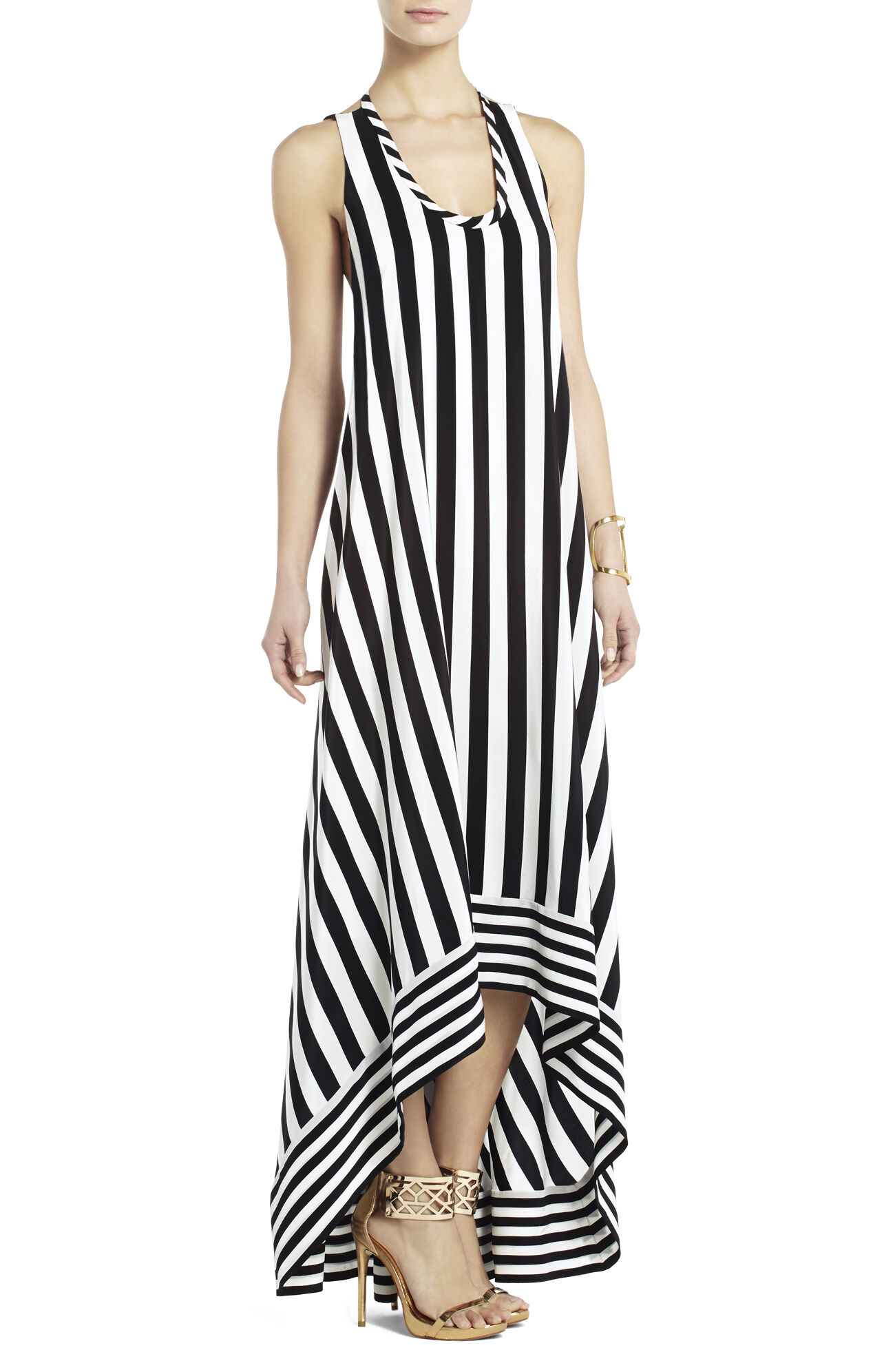 Gia Silk High-Low Striped Dress