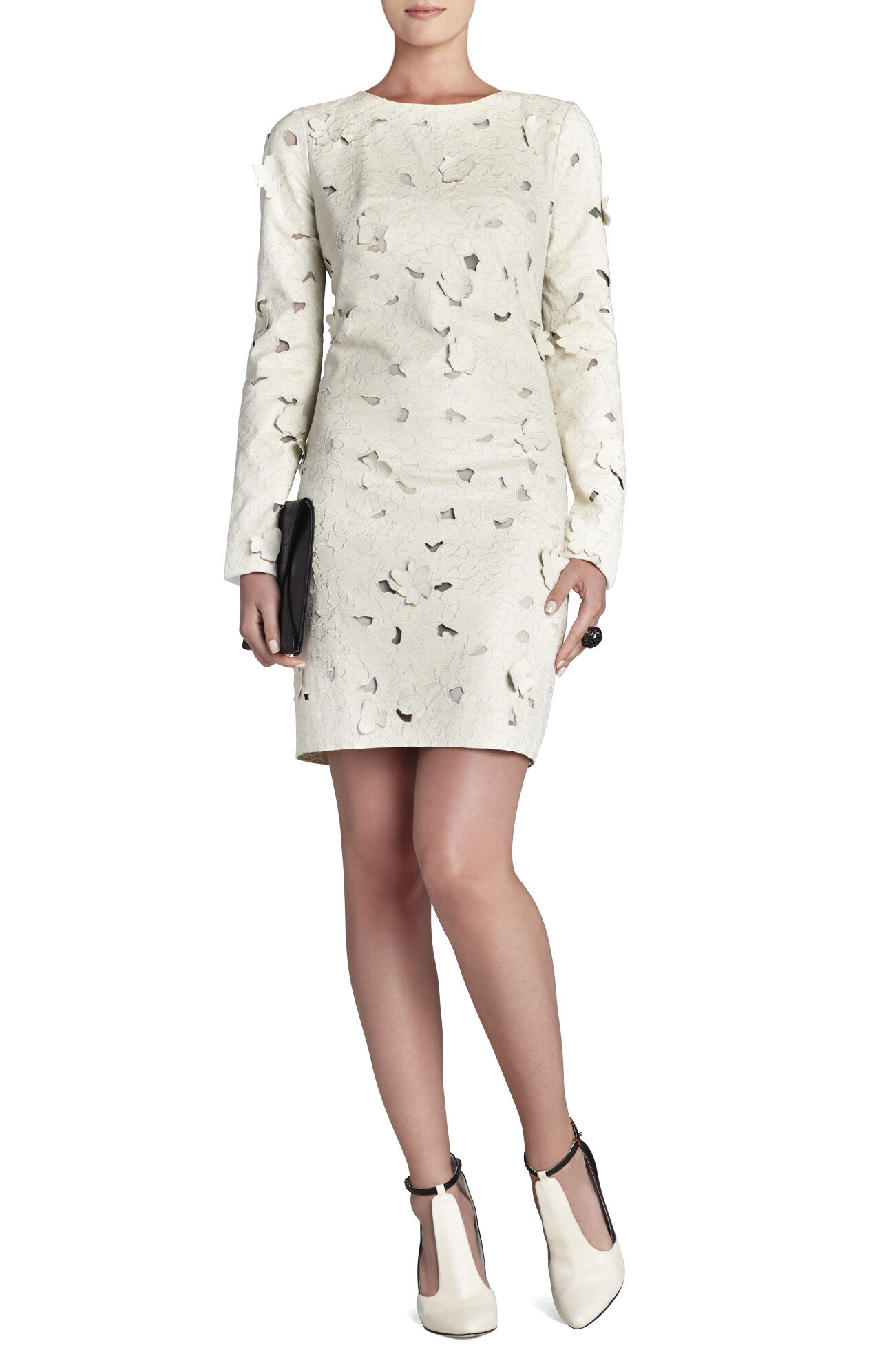 Jillea Embroidered Cutout Faux-Leather Dress
