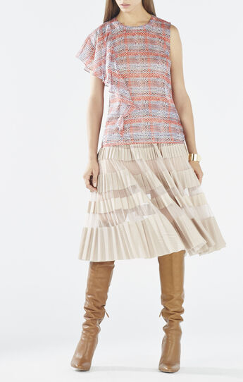 Matalin Asymmetrical Ruffle Dotted Plaid Top
