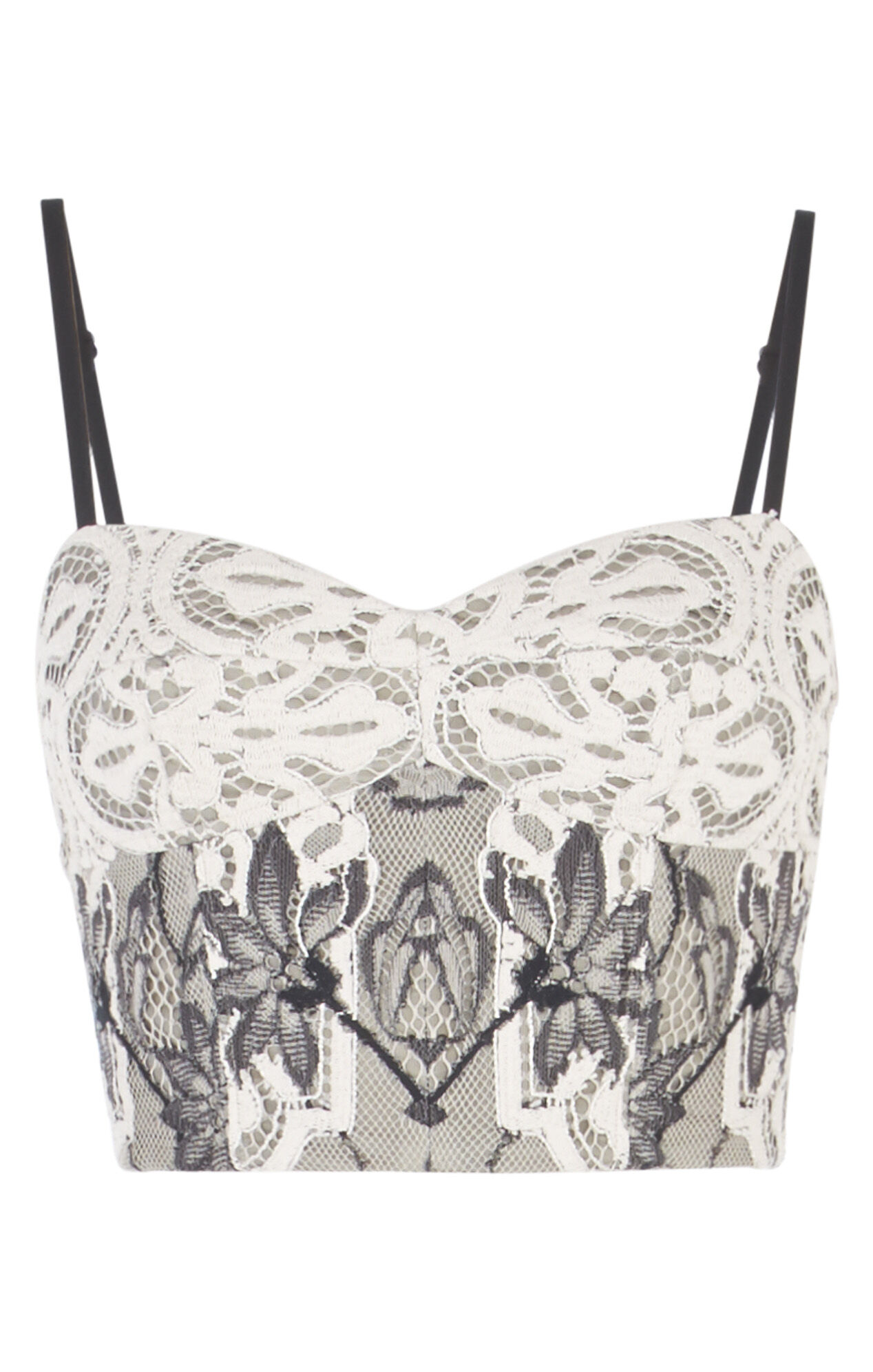 Pearle Two-Tone Floral Lace Crop Top