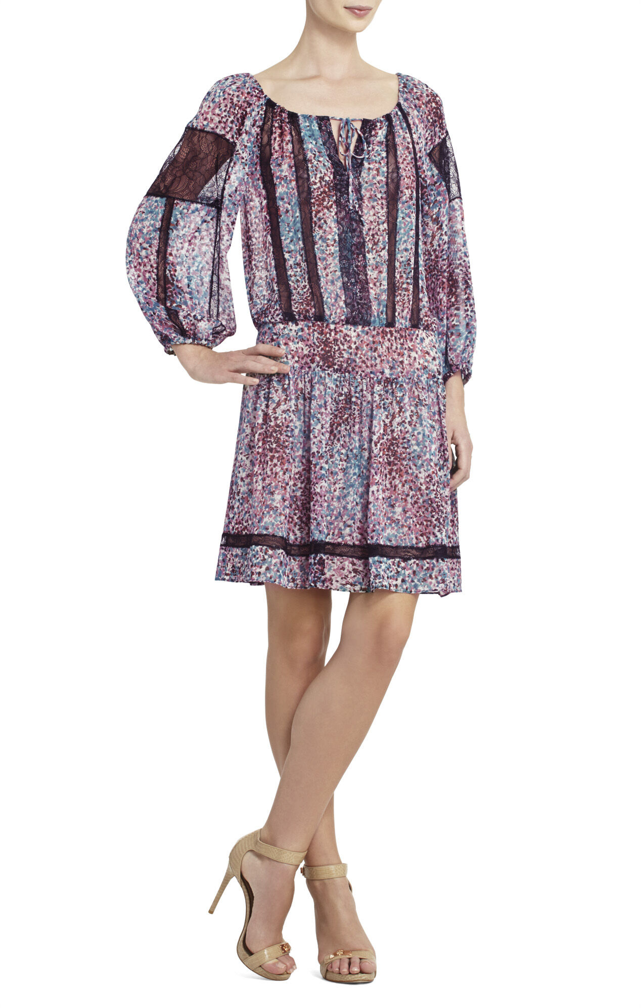 Farra Lace-Blocked Dress