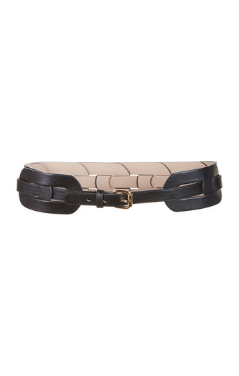 Woven Faux-Leather Waist Belt