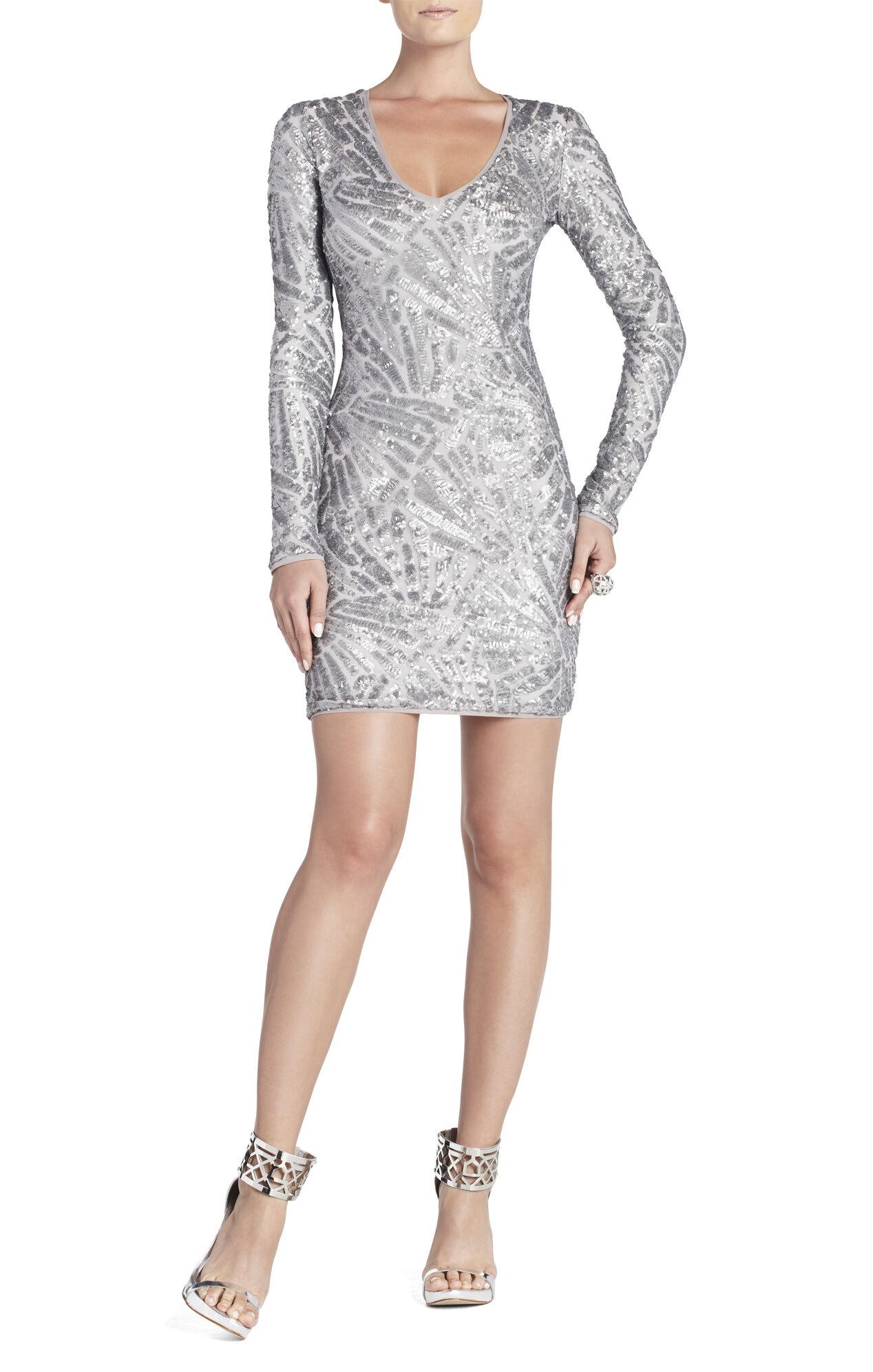 Morris V-Neck Deco Sequined Dress