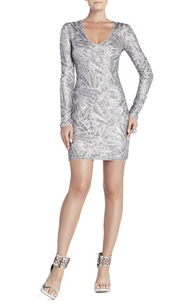 Morris V-Neck Deco Sequined Dress