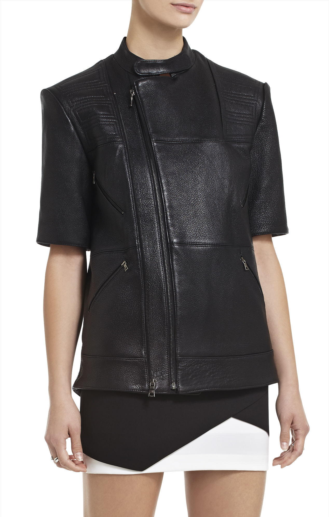 Charnet Short-Sleeve Leather Jacket