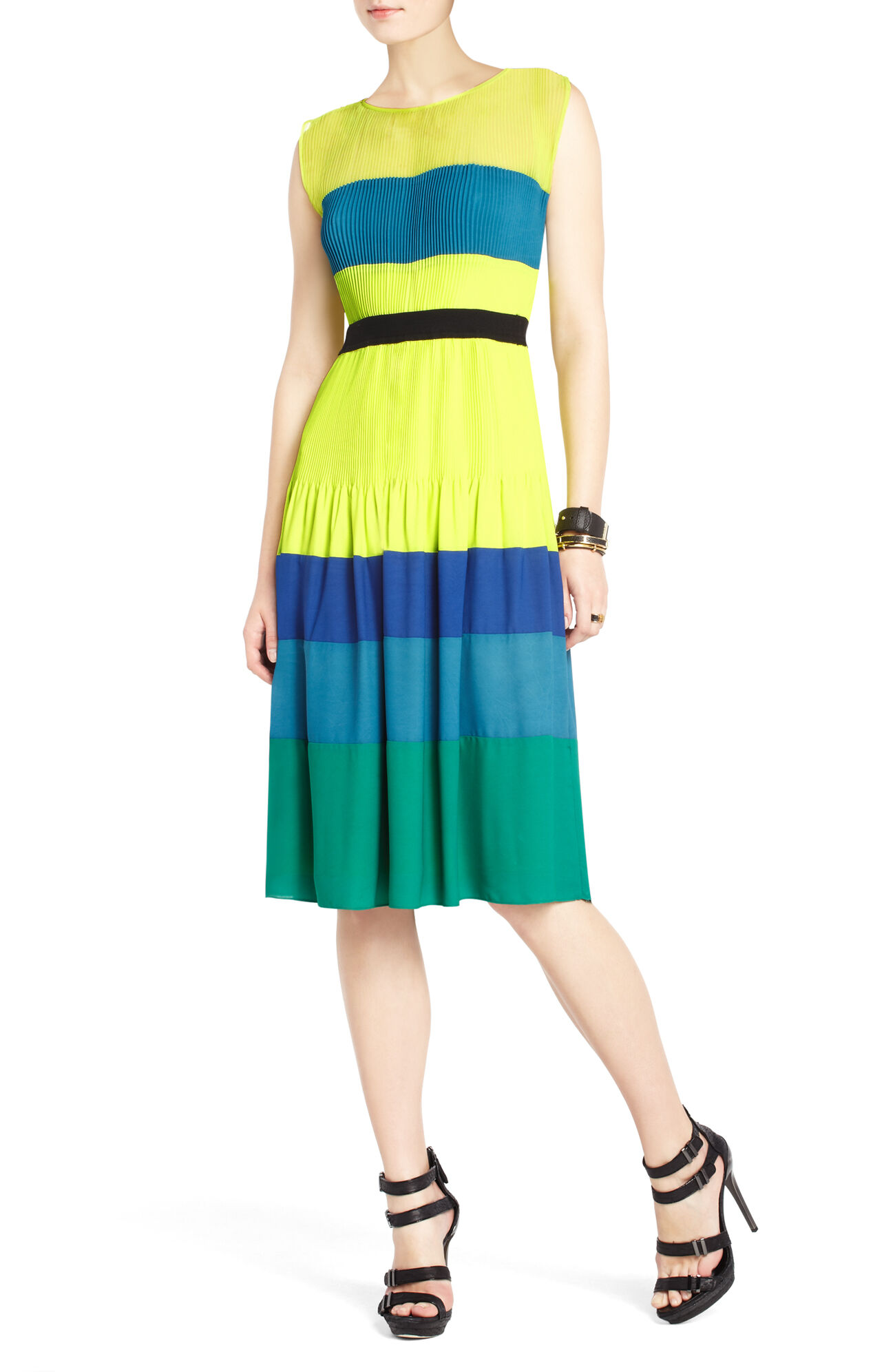 Kassandra Pleated Color-Blocked Dress
