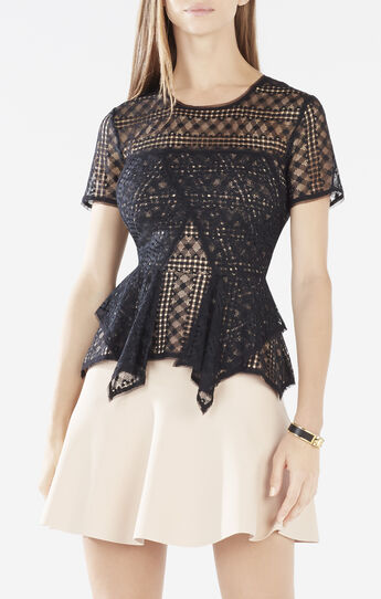 Karine Plaid Lace Peplum Top