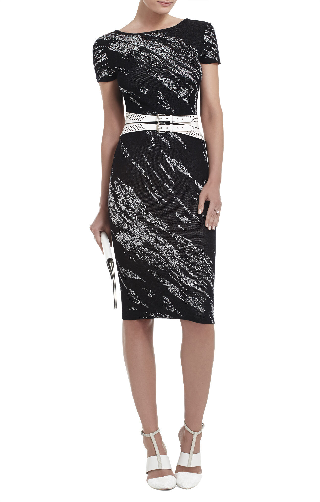 Jackee Crackled-Jacquard Dress