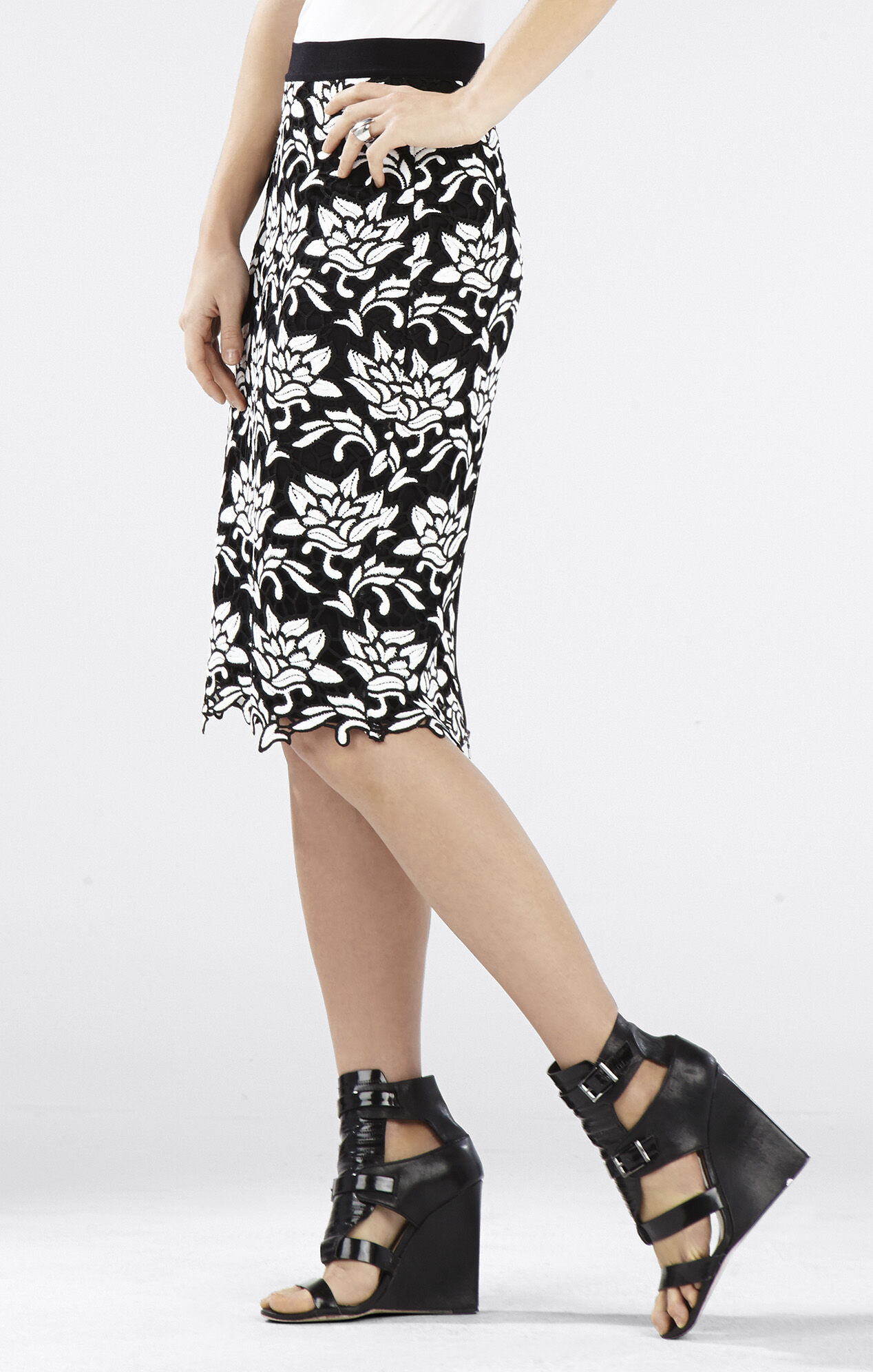 Sascha Floral-Hem Pencil Skirt