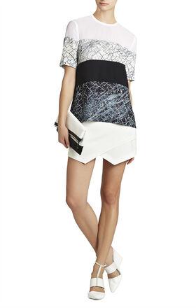 Caleste Print-Blocked Short-Sleeve Top