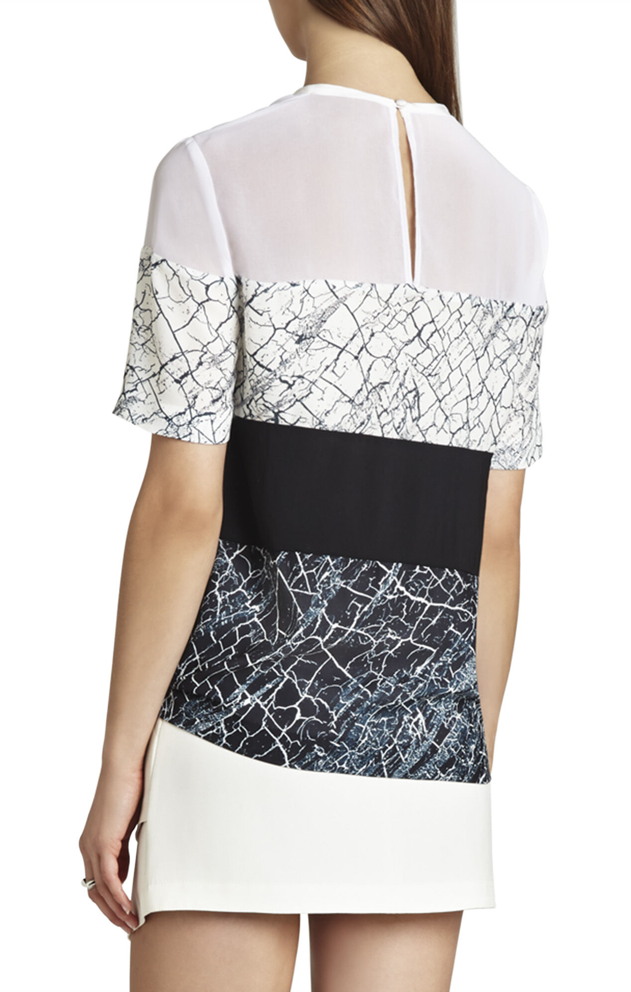 Caleste Print-Blocked Short-Sleeve Top