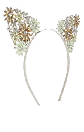Floral-Stone Cat-Ears Headband