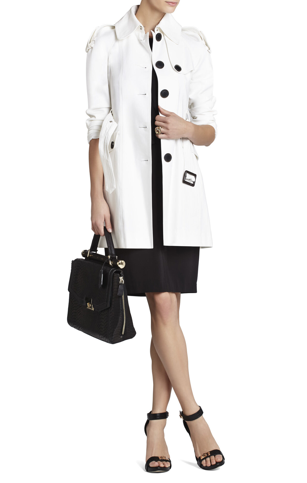 Angie Pointed-Collar Trench Coat