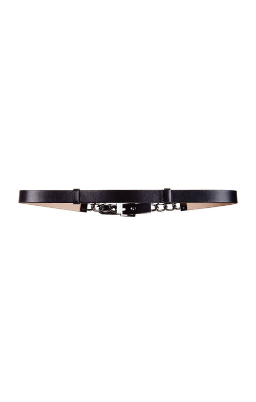 Chain Faux-Leather Waist Belt