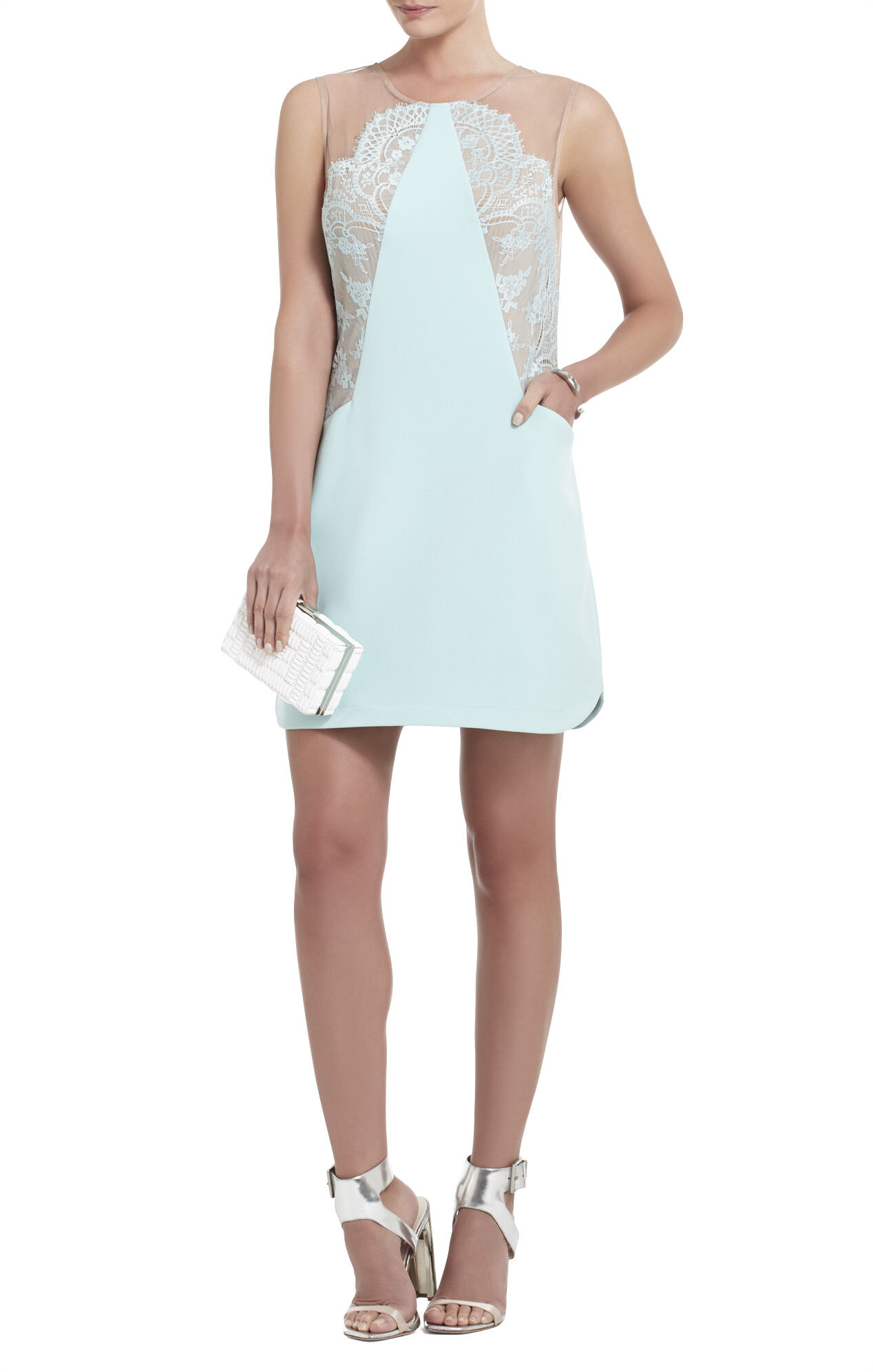 Avrey Sleeveless Lace-Blocked Dress