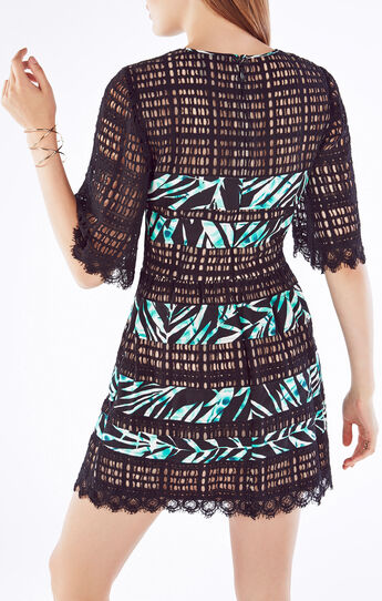 Layna Palms Print-Blocked Lace Dress