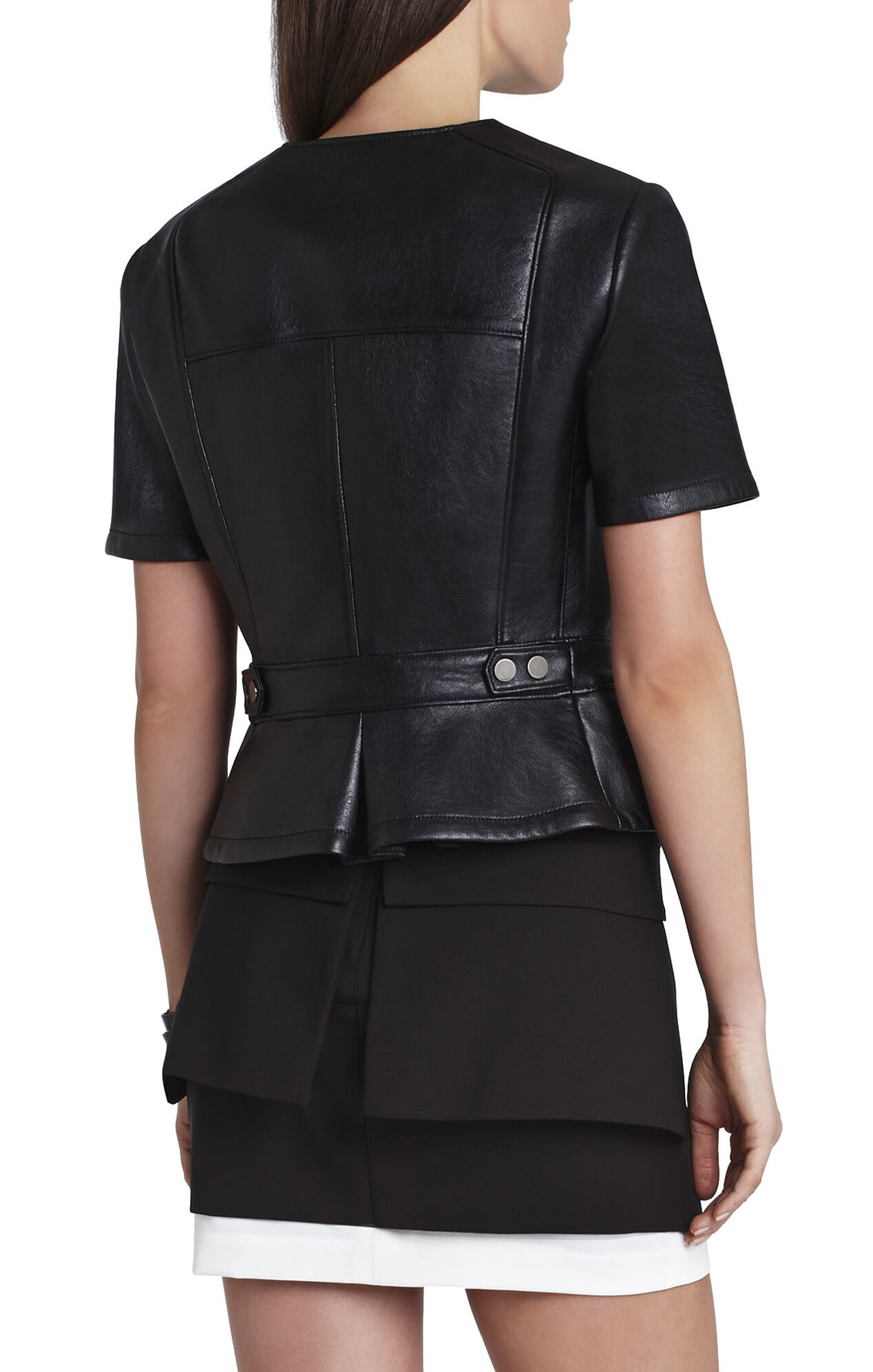 Dayne Bonded Faux-Leather Cropped Jacket