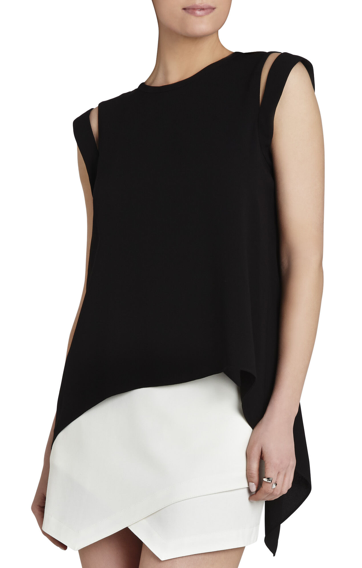 Calin Cap-Sleeve Split-Back Tank