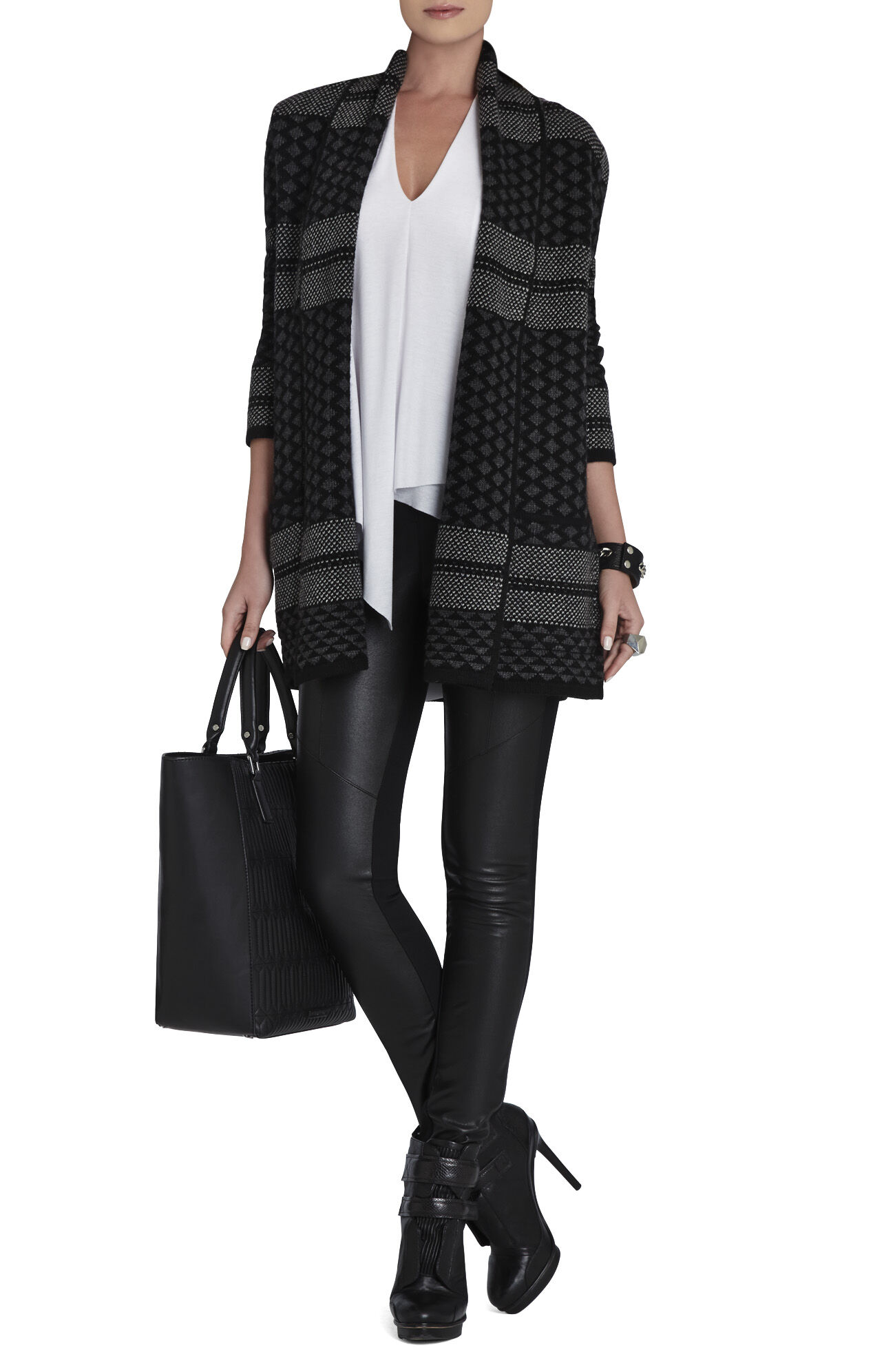 Shadia Textured Jacquard Sweater Coat