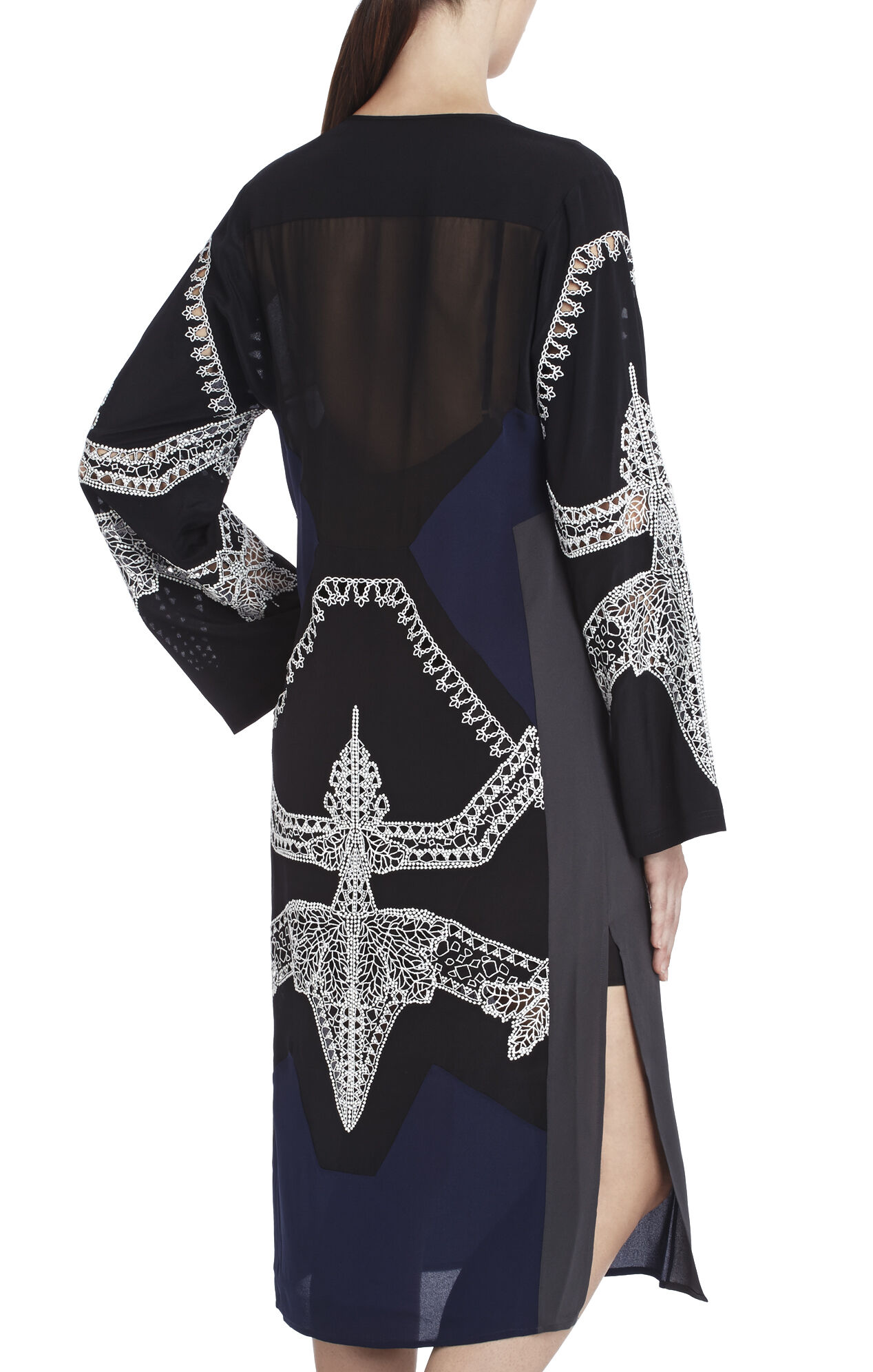 Runway Daulphine Kimino-Sleeve Silk Dress