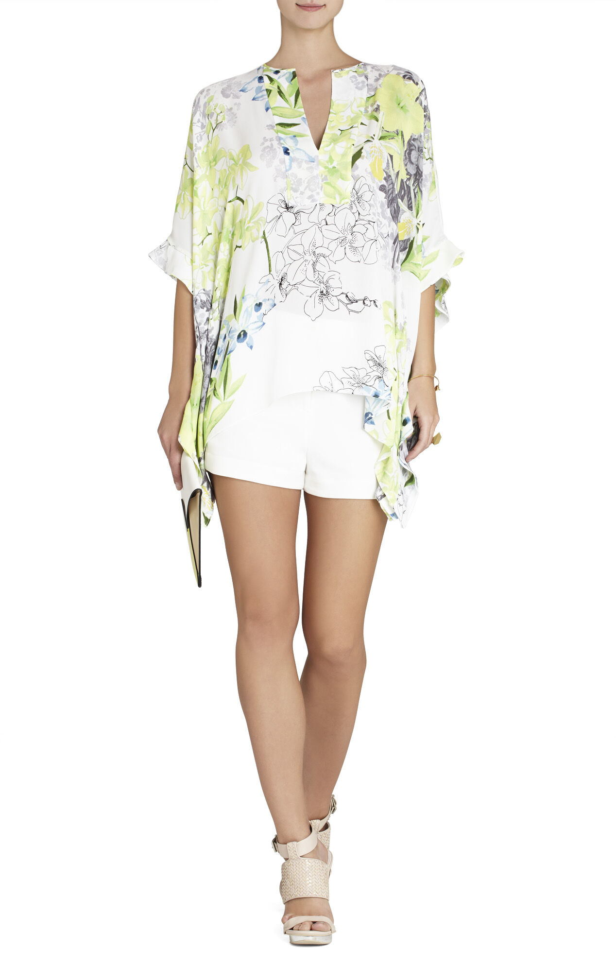 Dove Printed Ruffle Caftan Top