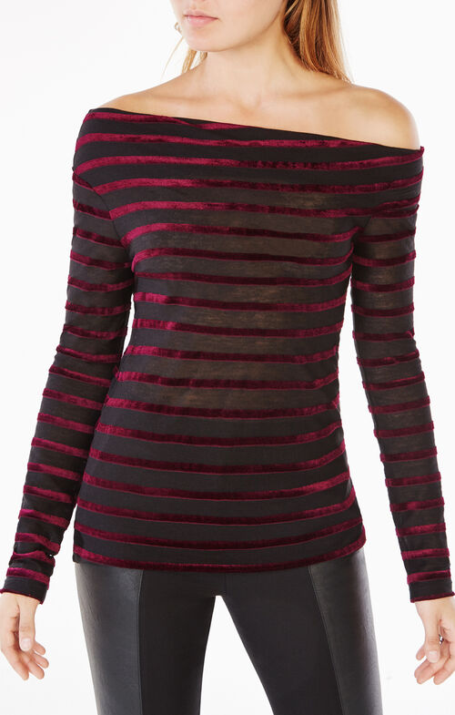 Anais Velvet-Striped Top