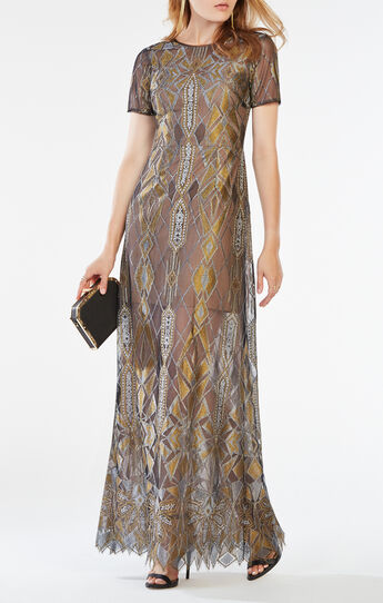 Taliah Metallic Geometric Lace Gown