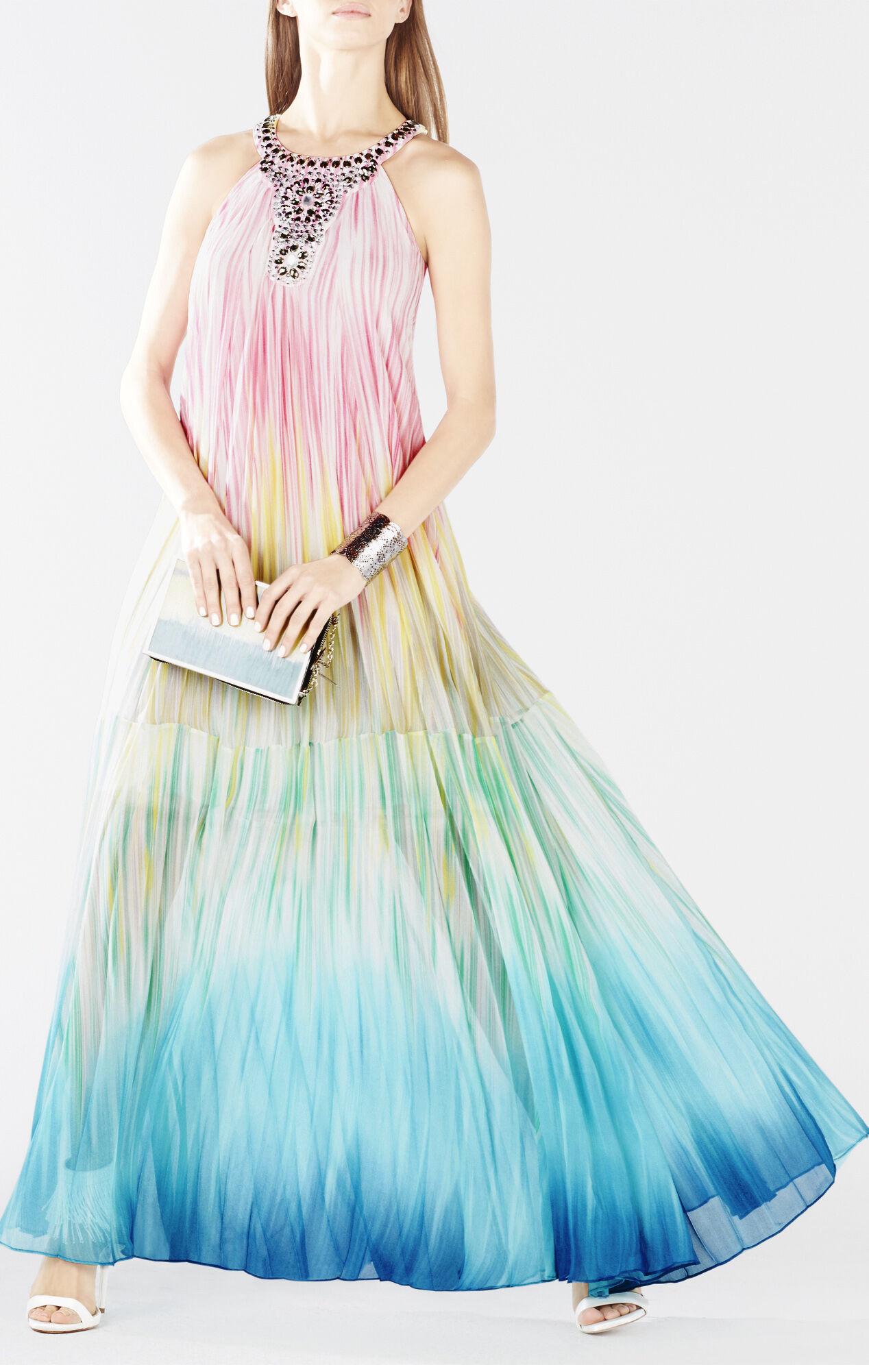 Chelsie Embellished Sunburst Pleated Gown