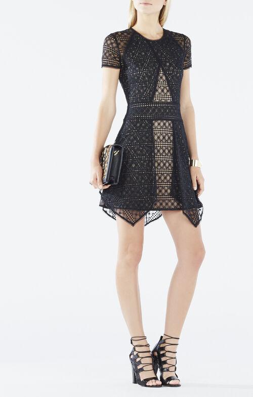Aileen Asymmetrical Lace-Blocked Dress