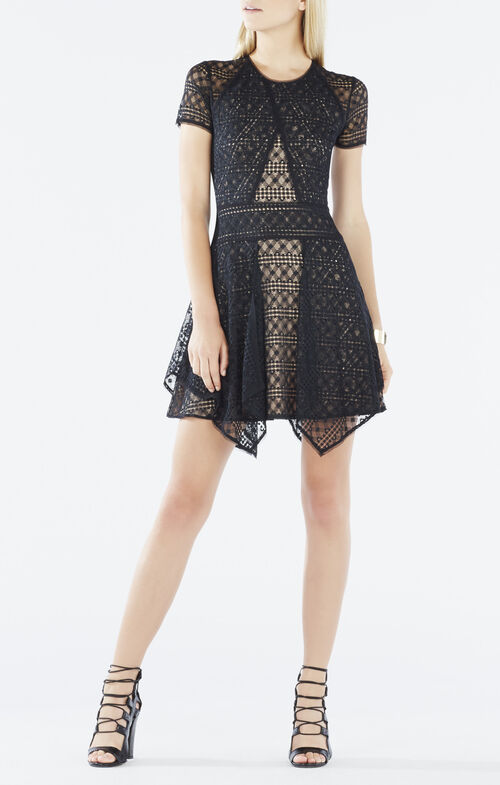Aileen Asymmetrical Lace-Blocked Dress