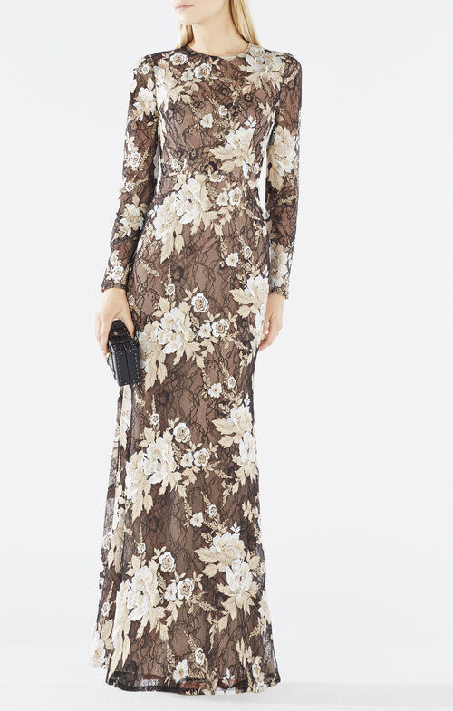 Veira Floral Embroidered Lace Gown