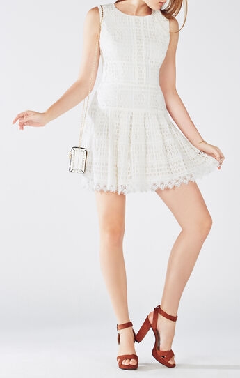 Katherina Embroidered Applique Grid Lace Dress