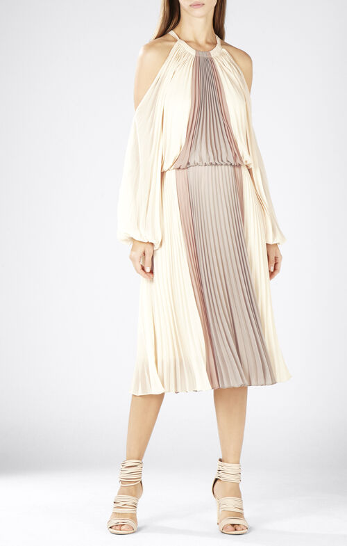 Camira Halter-Neck Pleated Color-Blocked Dress