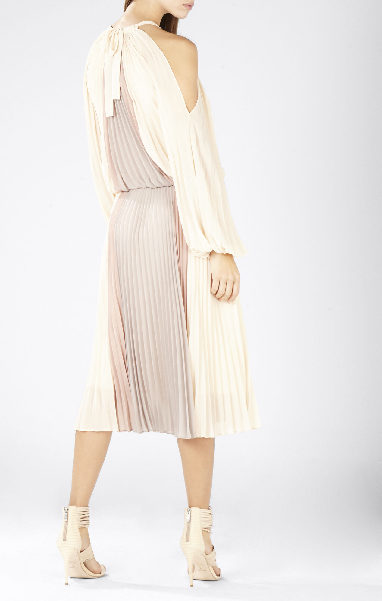 Camira Halter-Neck Pleated Color-Blocked Dress