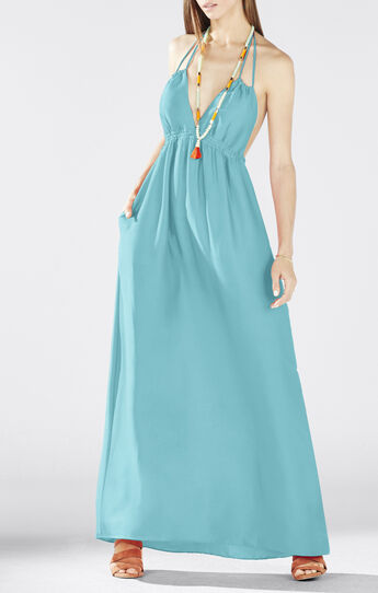 Kamala Open-Back Halter Maxi Dress