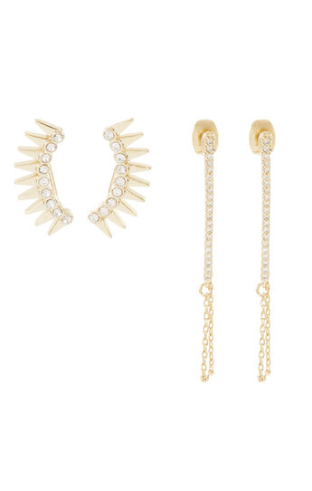 Stone Bar And Spike Crawler Earring Set