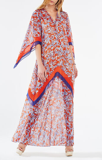 Izabel Ikat Scroll Print Maxi Dress