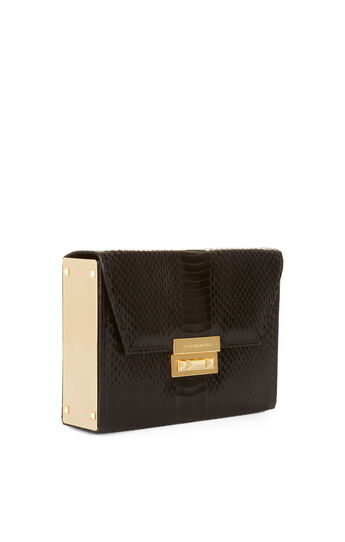 Lyvia Snake Print Faux-Leather Box Clutch