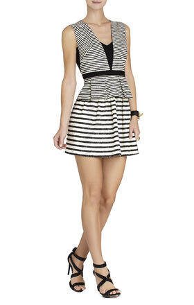 Piper V-Neck Striped Peplum Dress