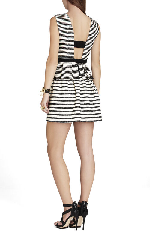 Piper V-Neck Striped Peplum Dress