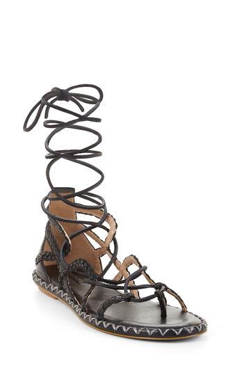 Maye Woven Lace-Up Flat Sandal