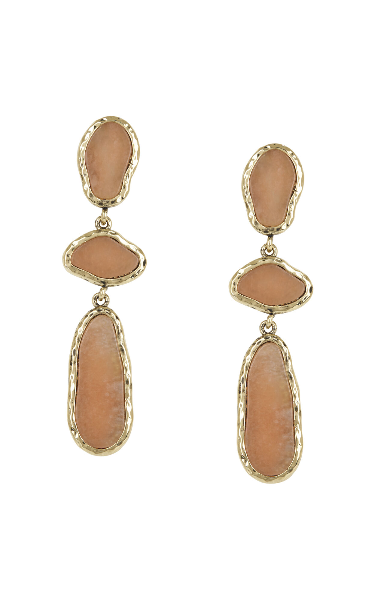 Hammered Natural-Stone Earrings